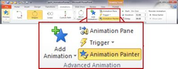Powerpoint 2010: copy the animations with the Animation Painter.