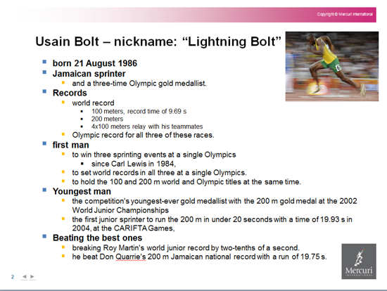 If sales people were to use PowerPoint to present Usain Bolt